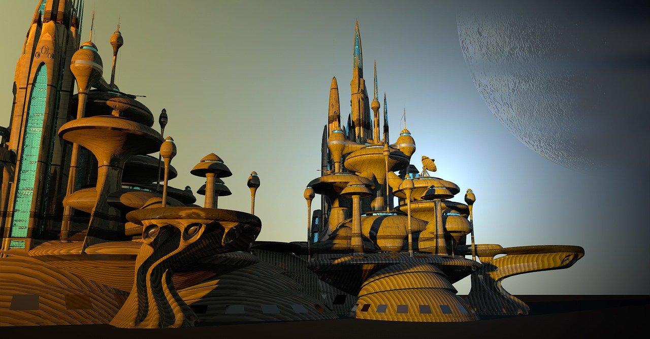 In einer Utopie möglich: Eine virtuelle Stadt, die sich von unser Vorstellung einer Stadt sehr weit entfernt hat.
